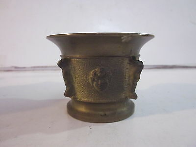 Vintage Apothecary Solid Brass Mortar Child's Face Design