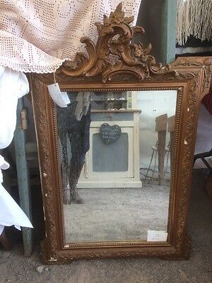 Antique French Crested Gilt Framed Mirror 19th Century Distressed