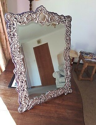 Extra Large Antique Solid  Silver Mirror