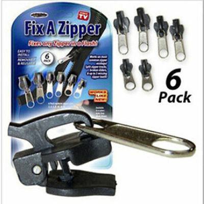 6Pcs Fix A Zipper Zip Slider Rescue Instant Repair Kit Replacement Removable New