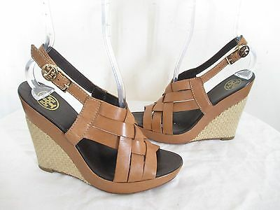3482aa770cd6 TORY BURCH WEDGE Sandals All Leather Brown Made In Brazil Sz 8 ½ ...