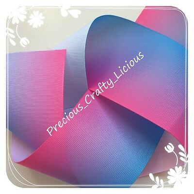 75mm - PASTEL BLUE & PINK OMBRE - GROSGRAIN RIBBON  - 3 INCH -  Cakes - Bows