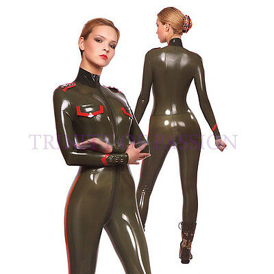 Unisex Military Latex Catsuit, Gummi Rubber Army Uniform (optional color, size)