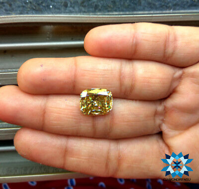 Cushion cut loose moissanite fancy intence yellow 11x12mm