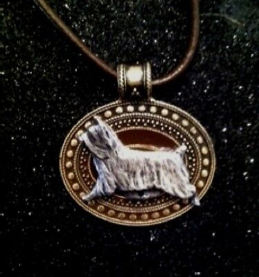 Silky Terrier  Dog Brass Medallion on leather cord~necklace SILKIE