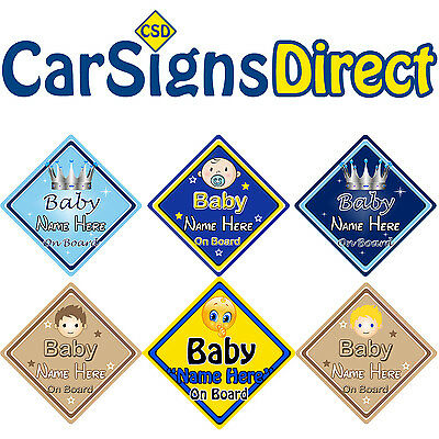 Personalised Baby Boy On Board Car Sign - Baby/Child Safety - Choice Of Designs
