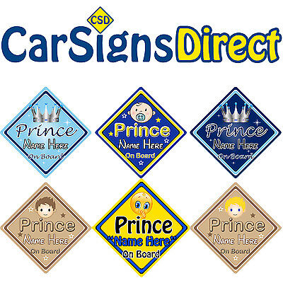 Personalised Prince On Board Car Sign - Baby/Child Safety - Choice Of Designs