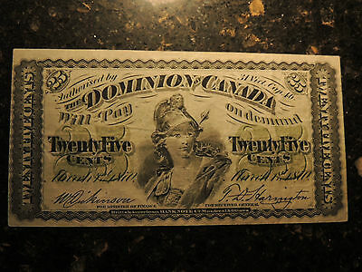1870 DOMINION OF CANADA SHINPLASTER 0.25 CENTS PAPER MONEY PLAIN DC-1c.