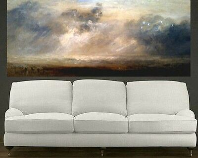 Clouds over Bay, Landscape Extra Large Abstract Oil Painting, Wall Deco