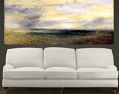 Clouds over Bay, Seascape, Extra Large Abstract Oil Painting, Wall Deco