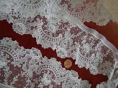 SUPERB HANDMADE Antique VTG BELGIAN BRUSSELS POINT DE GAZE LACE FLOUNCE *DOLLS