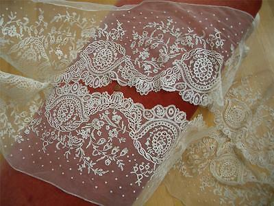 "SUPERB WIDE 13""X207"" HM Antique Vtg BELGIAN BRUSSELS APPLIQUE NET LACE FLOUNCE"