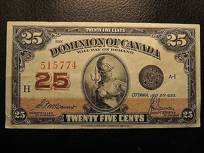 1923 Dominion Of Canada Shinplaster 0.25 Cents Paper 515774 Mccavour Saunders