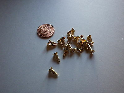 """20 #4 3/8""""  SLOTTED BRASS WOOD SCREWS w/ FLAT HEAD FOR ANTIQUE CLOCK REPAIR"""