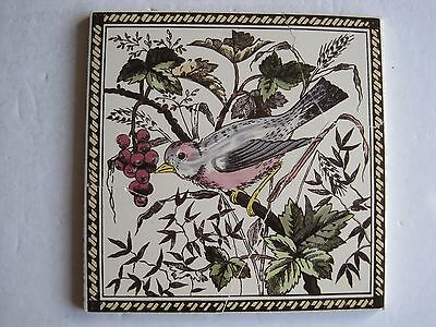 Victorian Style Tile  - Bird With Berries - Reproduction