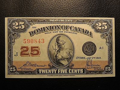 1923 Dominion Of Canada Shinplaster 0.25 Cents Paper 590843 Mccavour Saunders