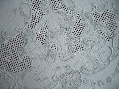 HM Antique Vtg FIGURAL APPENZELL EMBROIDERY LACE LINEN HAND TOWEL *CHERUBS PUTTI
