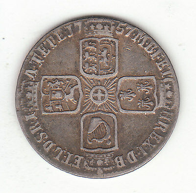 1757 Great Britain George II Sterling Silver Sixpence.