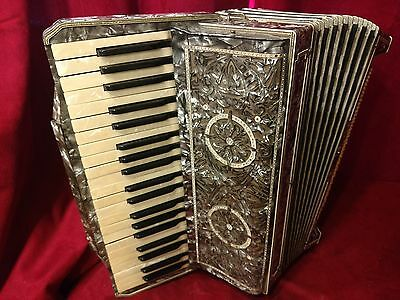 Vintage Pre-War Piano Accordion Silver Italian LMM 41/120 FOR PARTS OR REPAIR