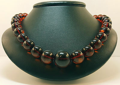 Necklace Natural Baltic Amber Stone 51,5g Vintage Rare Cherry Cognac Bead A-110