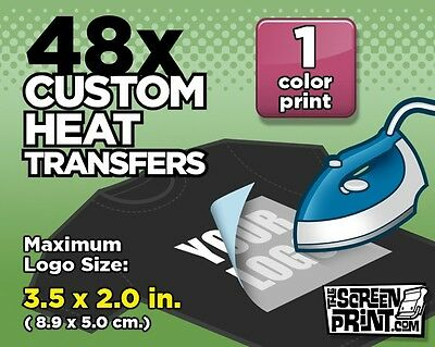 48 Custom Plastisol Heat Transfers Iron-On (1 color) MAX Logo Size 3.5 x 2.0 in.