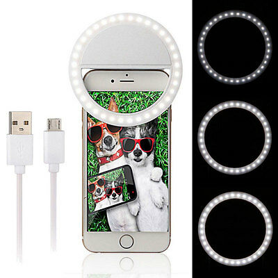 Android Selfie LED Ring Light Fill Camera Photography Portable Iphone Darkness