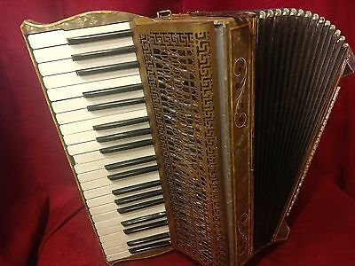 Vintage Pre-War Piano Accordion Cellini Primera LMM 41/120 FOR PARTS OR REPAIR