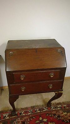 Antique Oak Writing Bureau With 2 Drawers