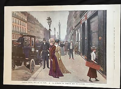 1906 newspaper VICTORIAN COLOR POSTER Easter Week in Paris France SPRING FASHION