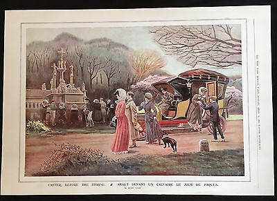 1906 newspaper VICTORIAN COLOR POSTER Easter Sunday in Paris France CALVARY