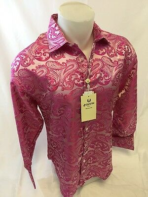 Mens MANZINI Button Down Dress Shirt Woven FUCHSIA PAISLEY Designer FRENCH CUFFS