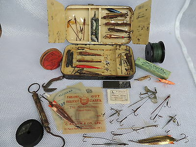 Hardy Black Japanned Spinning Fishing Lure Box + Contents..Farlows..Allcocks etc