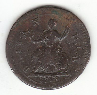 1719 George I  British US Colonial Farthing Copper Coin.