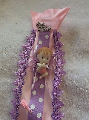 Daddy To Be Ties, Baby Shower, Pin and purple, Corsage, Baby Girl