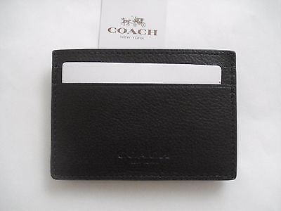 NWT Coach Men's Leather Slim Money Clip  Card Case Holder black F75459