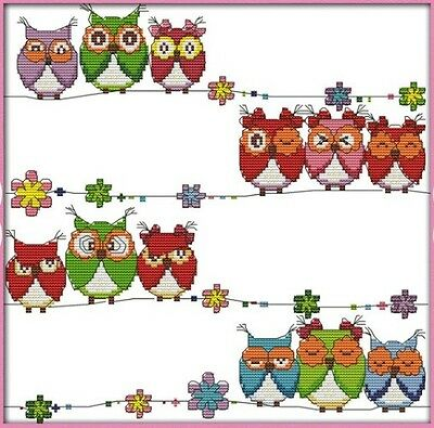 Lovely Owls. Rainbow colourful. 14CT counted cross stitch kit. Craft brand new