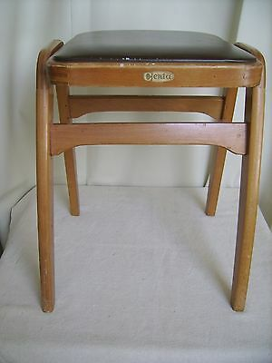 Vintage 'CENTA' Light Oak Stool with Faux Leather Seat