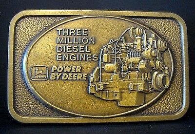 1991 John Deere 3 Million Diesel Engine Brass Belt Buckle Limited Ed 391/500  jd