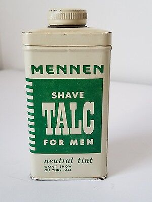 VINTAGE MENNEN NEUTRAL TINT SHAVE TALC FOR MEN TIN, 4oz FULL - EVC -ITALIAN TALC
