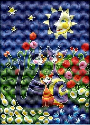 Cats under the sun (moon). 14CT counted cross stitch. Craft brand new