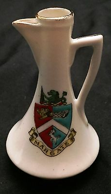 Vintage Margate Crest souvenir Porcelain Mini Pitcher Unmarked piece