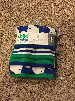 Child of Mine by Carter's 5 Pack Soft Terry Washcloths Safari Elephants NWT