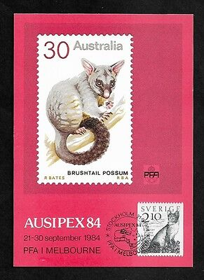 SWEDEN - mint 1984 Ausipex 84, Exhibition Maxi Card, Possum, Fox, MNH MUH
