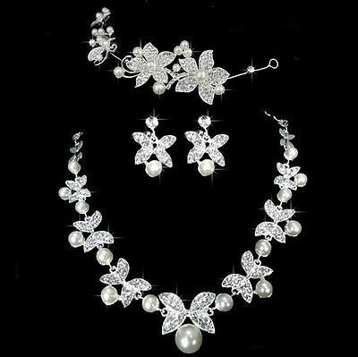 Bridal Wedding Flower Crystal and Pearl Jewelry Set Necklace, Earrings and Tiara