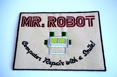 1x Mr Robot Patch Embroidered Cloth Applique Badge Patches Iron Sew On TV