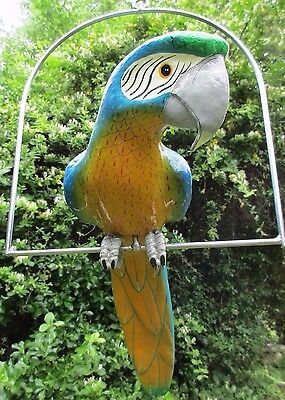 Large Hanging Painted Parrot, Signed Mora Mexico