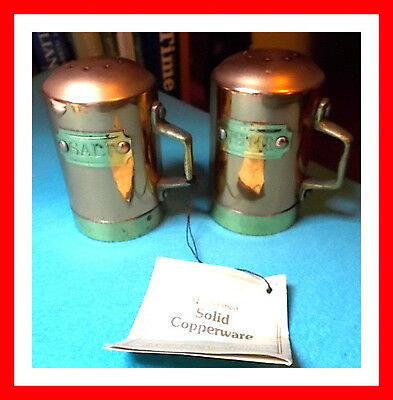 Vintage COPPER set of Sale and Pepper Shakers - Made in Korea - EC with Tag
