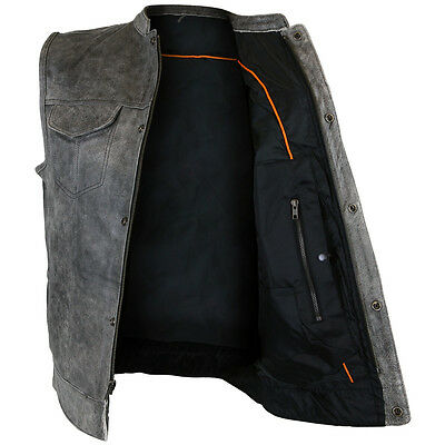 Mens Motorcycle Distressed Cowhide Gray Leather Club Vest With Concealed Carry