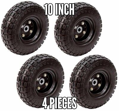 Farm And Ranch 10 Inch No Flat Tire 4-Pack Garden Airless Cart Wheel Black New