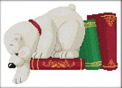 White Dog with Books 14CT counted cross stitch kit. Craft brand new